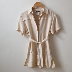 2/20 🦞Cream Simon Chang long vest short sleeves